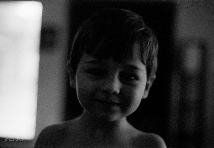My Nephew After Opening Christmas Presents - Nikon F3, Nikon 50mm f/1.4, ILFORD Delta 3200 Professional