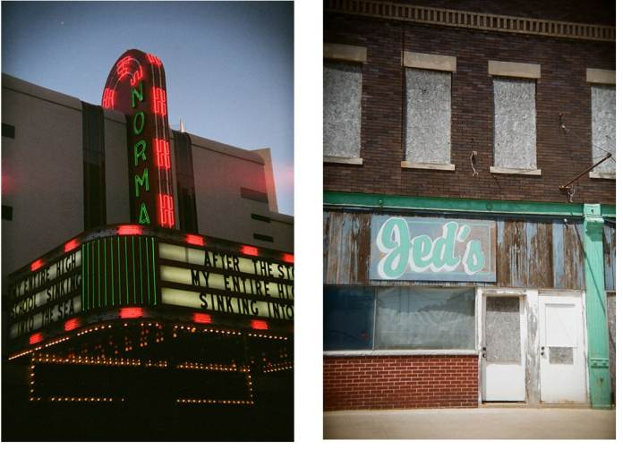 The Holga 135BC works just as well in portrait format when that is what I need - Cinestill 800T color negative film (left) - Lomography Color Negative 100 film (right) Route 66 in Illinois