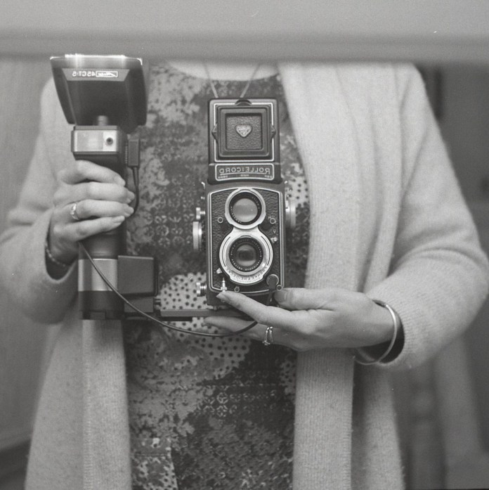 Self-portrait, Liverpool, 2017. Shot on Rolleicord f/3.5, PLUS HP5 PLUS