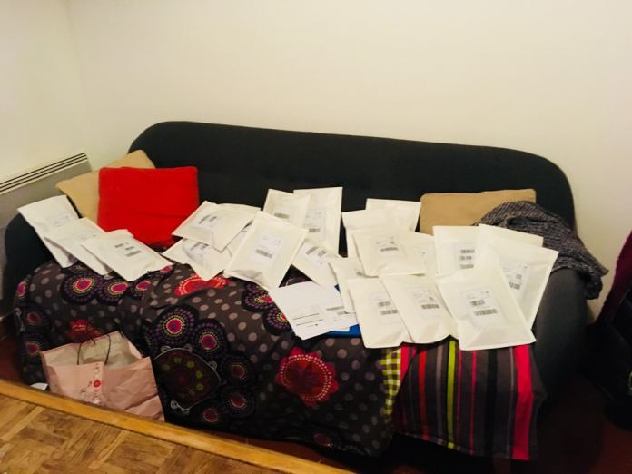 Our very first orders being shipped from our Headquarters...sorry for the mess!