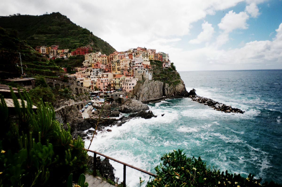 Cinque Terre: Another rainy day, captured beautifully by a disposable camera.