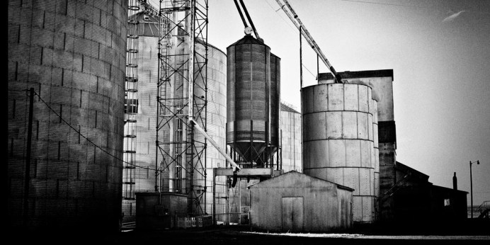 Take the time to get off the highway and drive through the small towns. You might be surprised at what you find. In this small agricultural community of about 200 people this active grain elevator system made for a perfect shot. Again: it was a matter of parking the truck, getting out and setting up the camera.