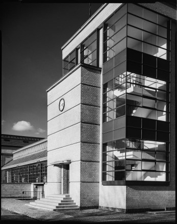 Bauhaus architecture, Schneider Symmar 150mm, lens shifted, red filter, Fomapan 100 in Rodinal 1+50