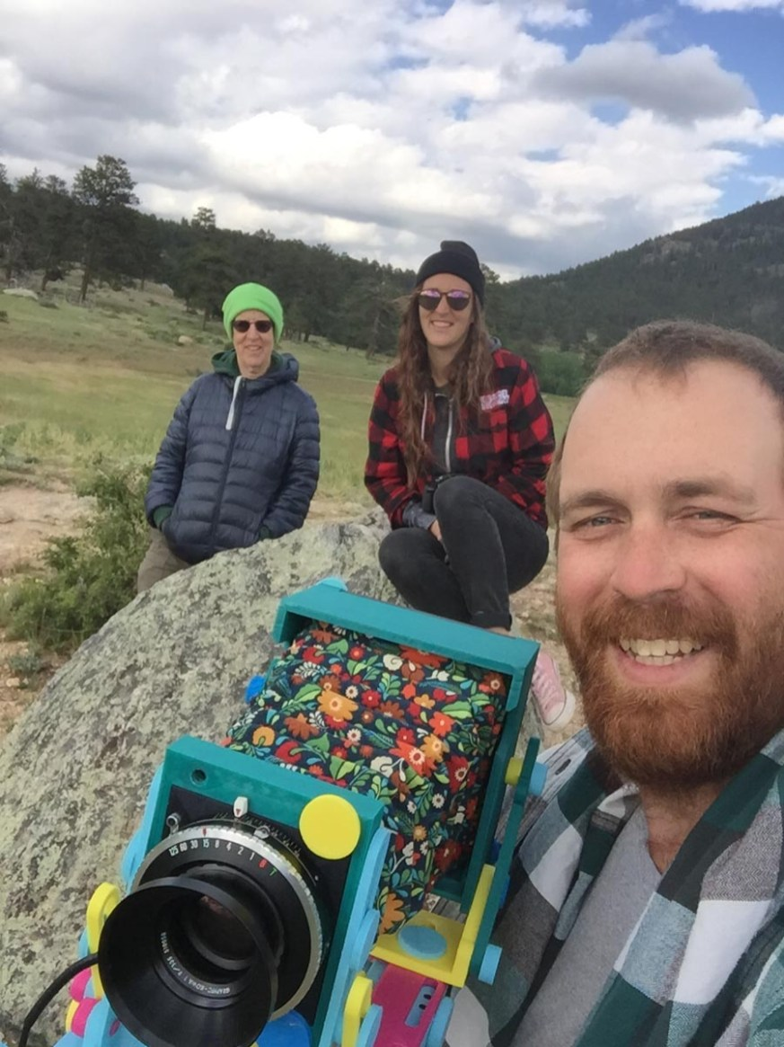 A selfie on vacation with my mom and sister, using my first prototype at rocky mountain national park.