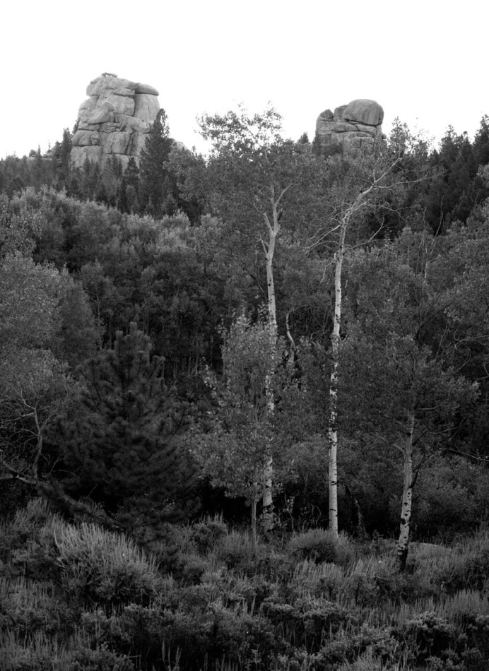 Tuesday, September 11, 2011 6:46 AM Mountain Time - Twin Towers of Stone, Laramie County, Wyoming 4x5 T-Max 100 Film, Linhof Tech V Camera, 150 mm lens, 1/2 Second Exposure at f/16