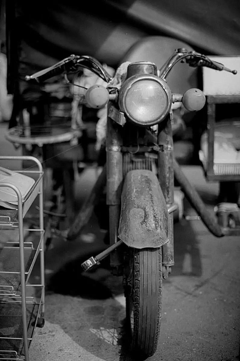 Old timer - Shot on Efke KB25 at EI 25. Black and white negative film in 35mm format.