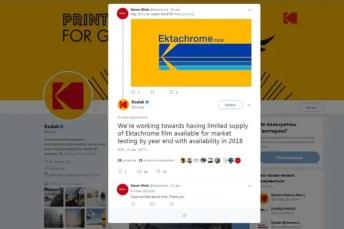 2017, April 21st - Kodak Alaris Twitter announcement