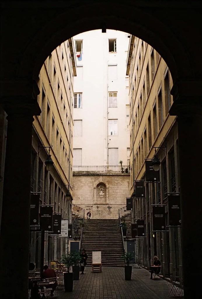 Passage Thiaffey, Lyon, France - From my first roll of film, Focasport 1D, Fujifilm Superia X-TRA 400