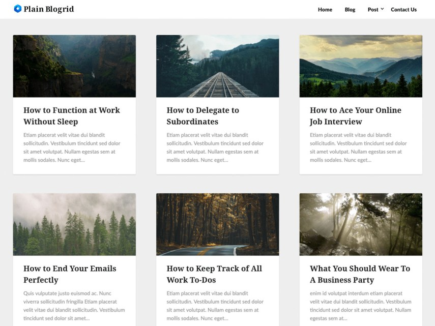 Wordpress - Plain Blogrid Theme