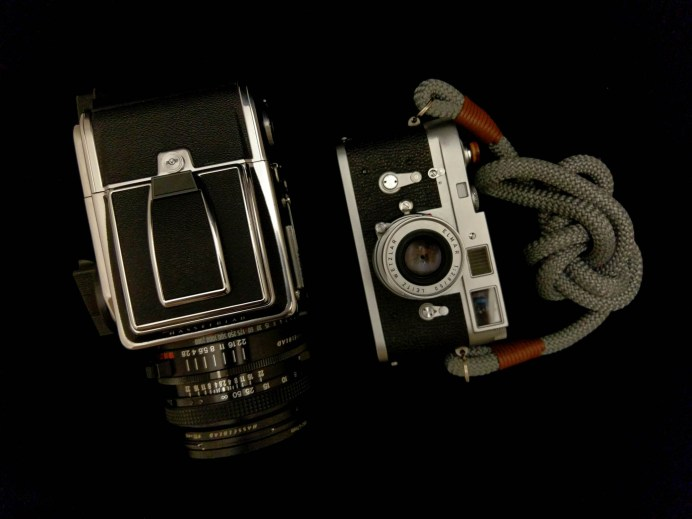 Side-by-side - Hasselblad 2000FCW + Planar F 80mm f/2.8 (left) and Leica M2 + Elmar 50mm f/3.5