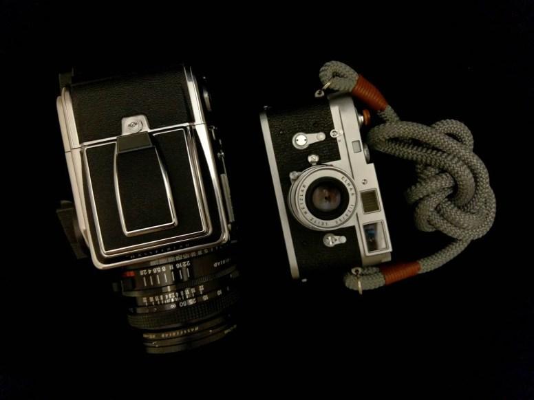 Side-by-side - Hasselblad 2000FCW + Planar F 80mm f/2.8 (left) and Leica M2 + Elmar 50mm f/3.5