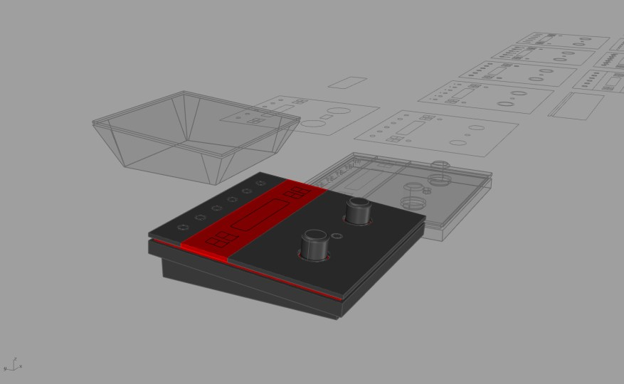 Early 3D mockup, still with the 16x02 LCD