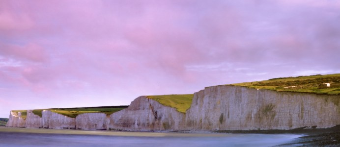 Seven Sisters; Fuji Velvia 50 helps pick out the cliffs' textured faces, while a partially overcast sky is injected with a little more cololur.