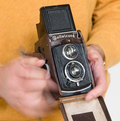 Rolleicord in beaten-up leather case