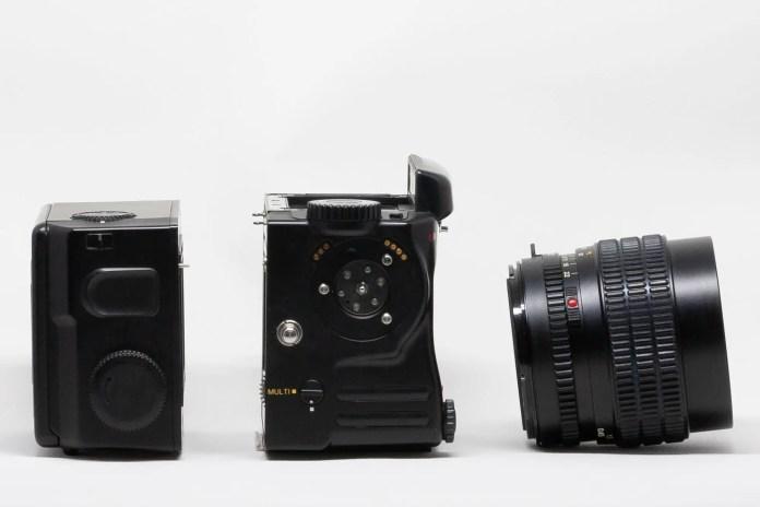 Profile of film back, Mamiya 645 Pro body, and Mamiya-Sekor C 45mm 2.8 N lens