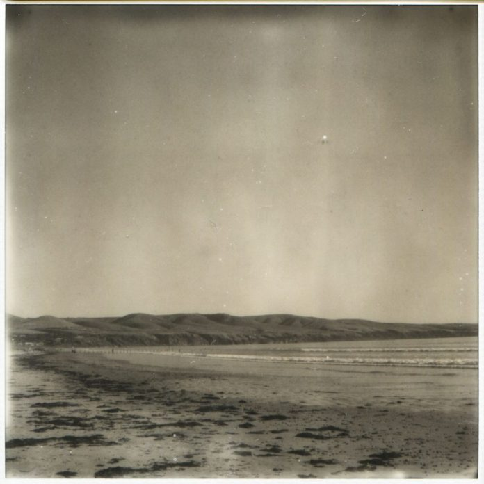 """""""On the beach"""" 2018. Impossible SX70 B+W scan as it was printed on vinyl for exhibition at 90cm x 90cm"""