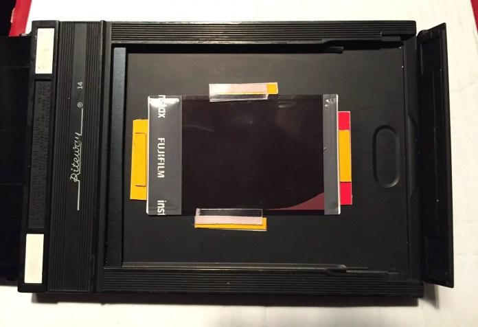 5 x 4 film holder loaded with Instax Mini film