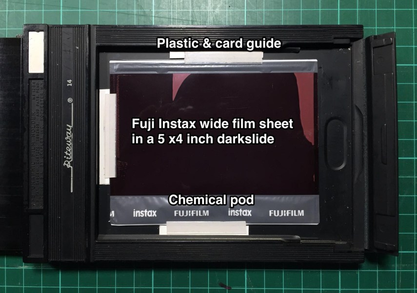 5 x 4 film holder loaded with Instax Wide film