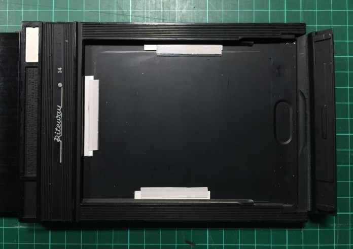 5 x 4 film holder modified for Instax Wide film