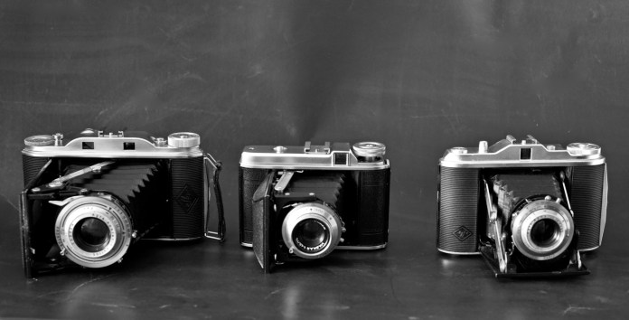 Left to right - Agfa Record III, Voigtländer Perkeo I, Agfa Isolette