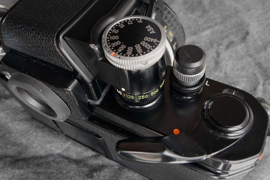 Nikon F2 top deck, right (shutter speed dial, shutter button and wind-on lever)