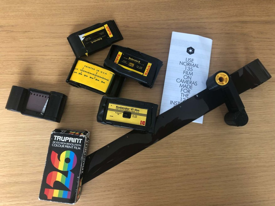 Original 126 film cartridges + FAKMATIC 35mm converter