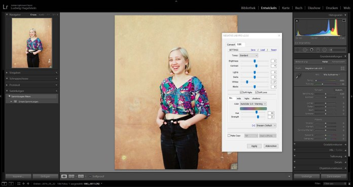 NLP Interface in Lightroom- Fully automatic conversion of FUJI 160 NS – done with one click, minor adjustments made to taste.