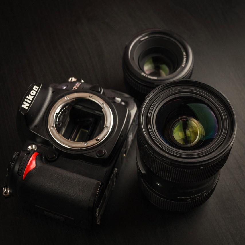 Nikon D7000 with Sigma 18-35mm f/1.8 and Nikkor 50mm f/1.8