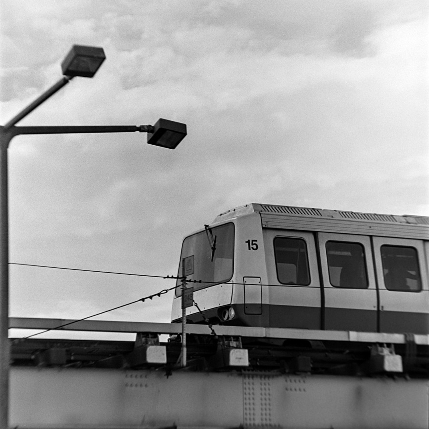 O'Hare Train Up Close | Bronica S2A and Nikon Nikkor-Q 25CM f/4 | TMax 400 | This image demonstrates some field curvature and was likely shot at f/5.6 or f/8