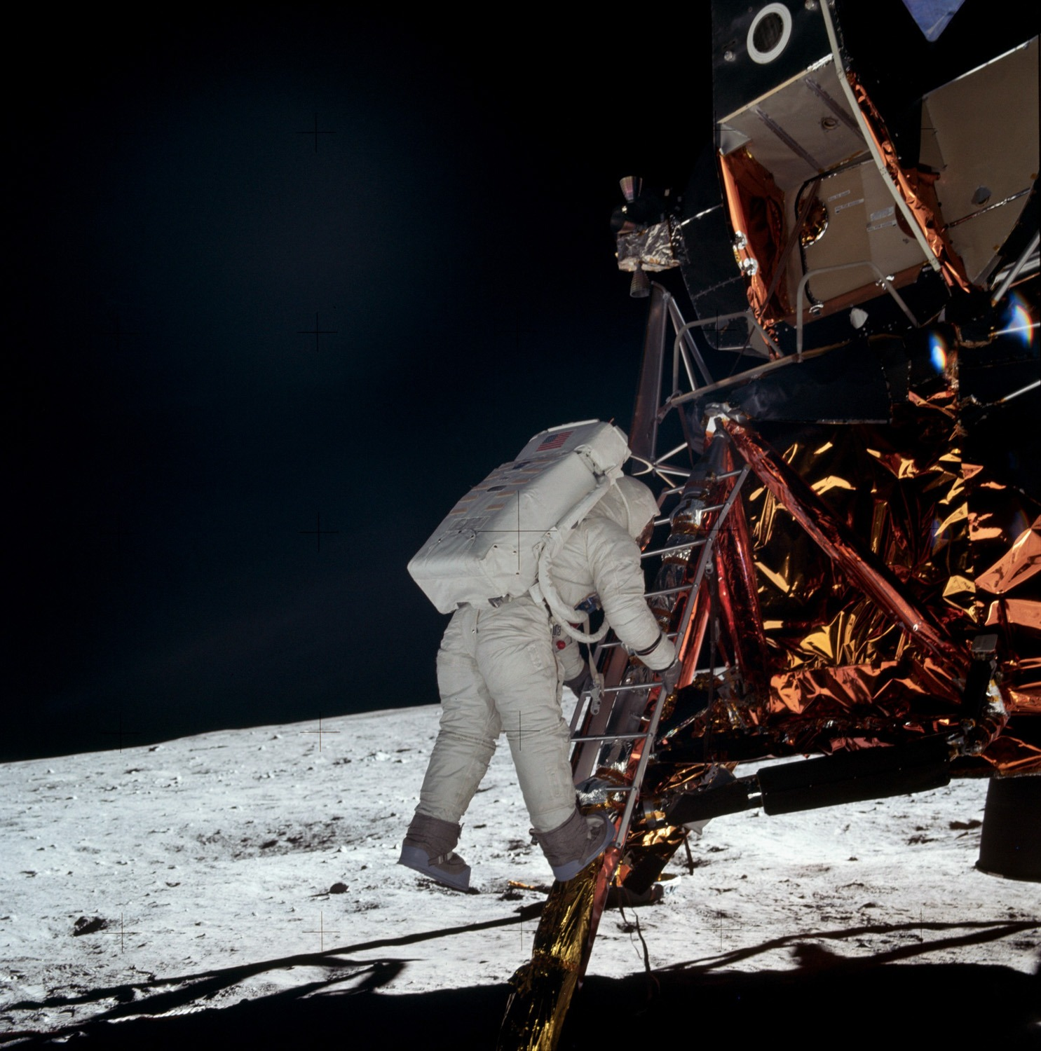 Aldrin descends to the surface from the Lunar Module. Credit: Neil Armstrong, NASA ID: AS11-40-5868