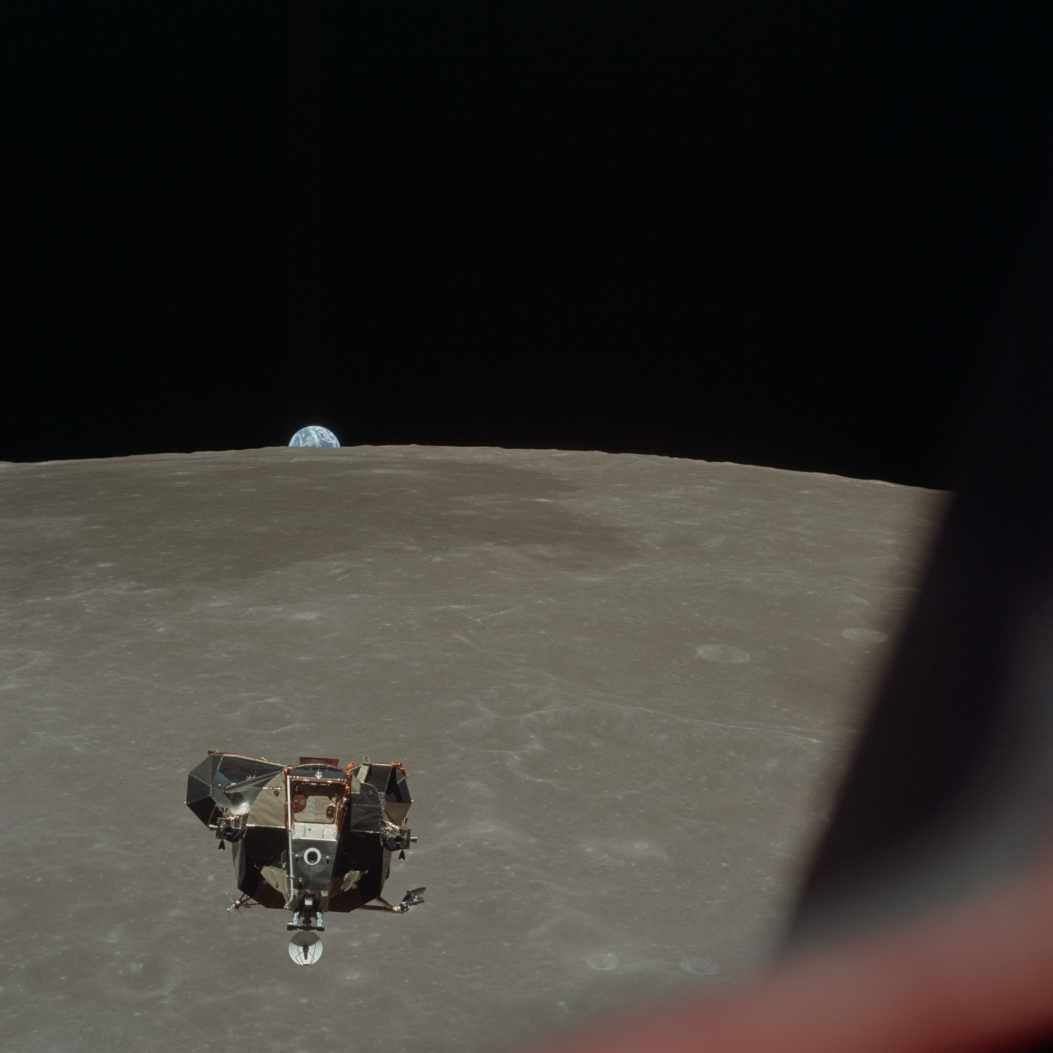 Apollo 11 Lunar Module ascent stage photographed from Command Module. Credit: Michael Collins, NASA ID: AS11-44-6634