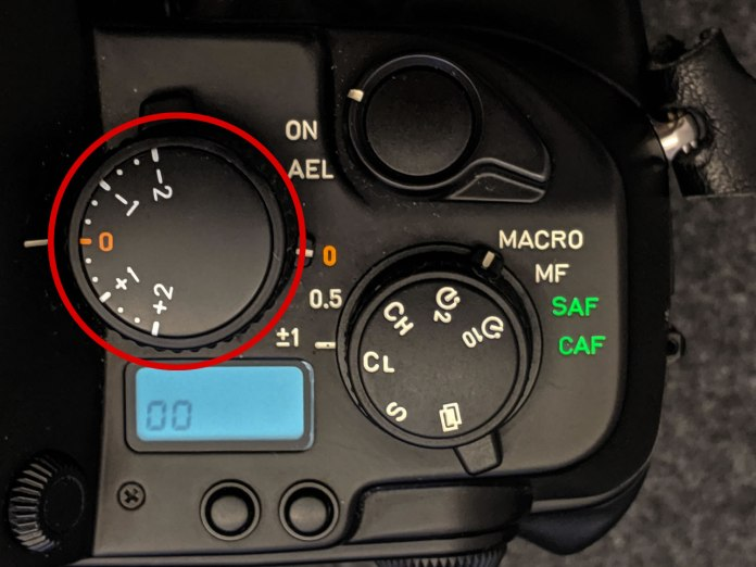 CONTAX AX - Exposure compensation dial close-up