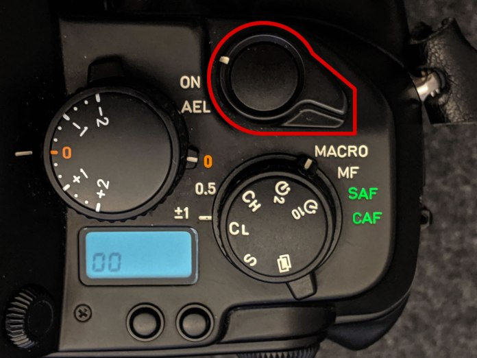 CONTAX AX - Power/shutter button close-up