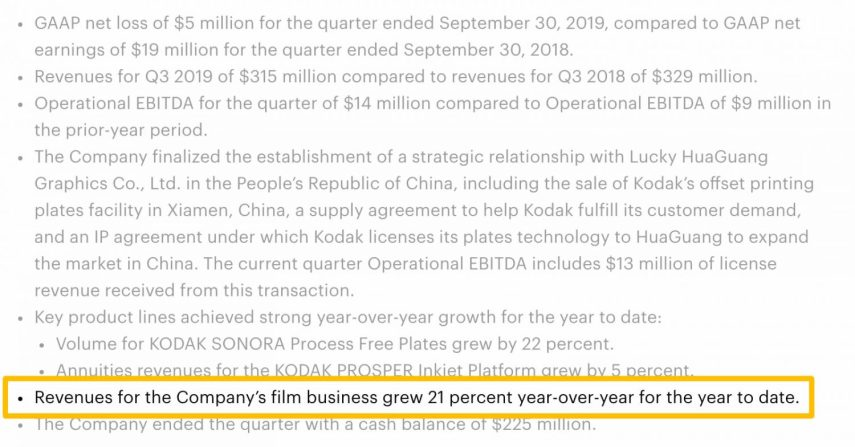 Kodak Reports First-Quarter 2019 Financial Results bullets