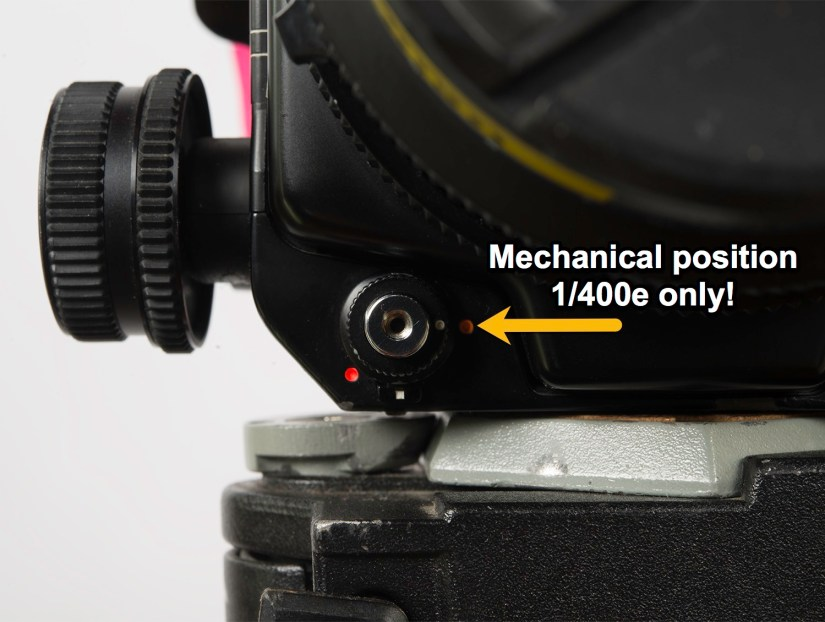 "Mamiya RZ67 - shutter set to ""mechanical"" position"