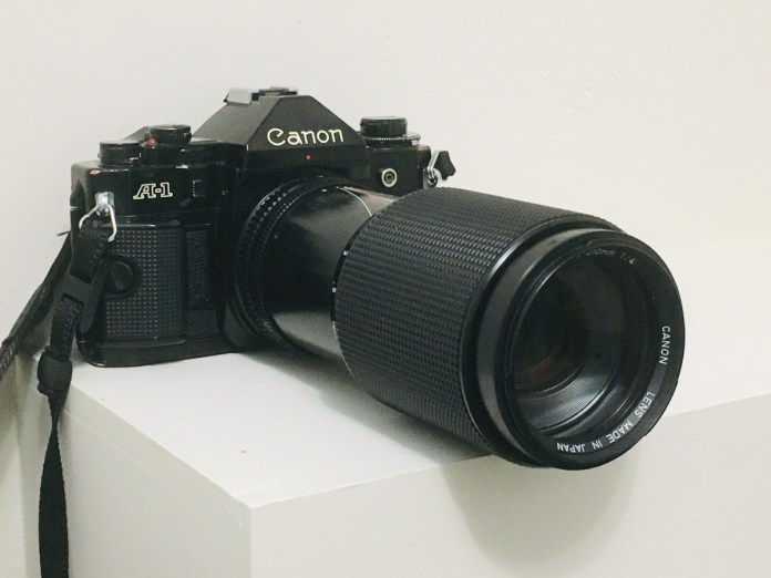 Canon A-1 and Canon FD 70-210mm f/4 zoom lens