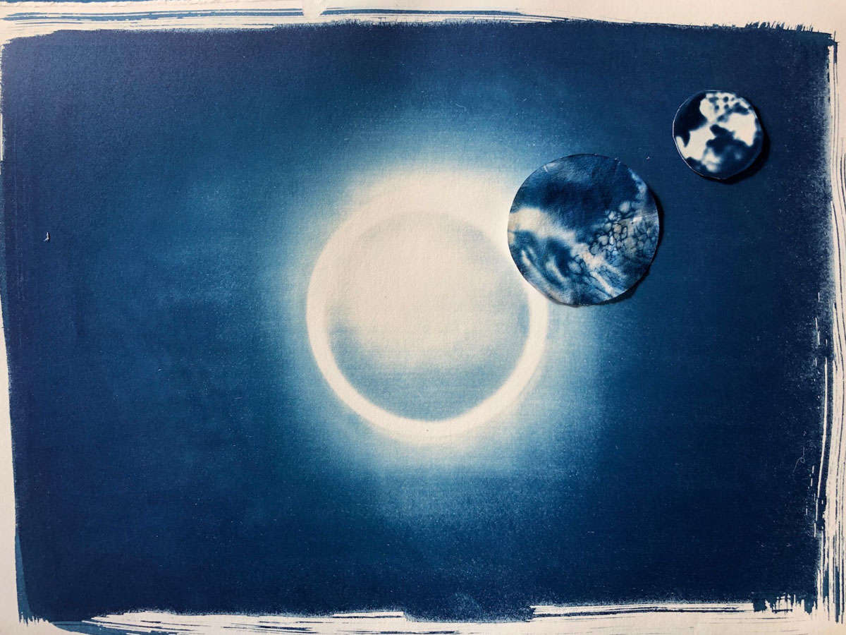Susan Phillips - Cyanotype collage, Solar System