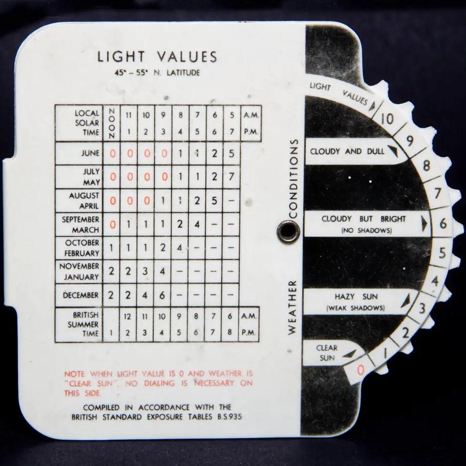 Johnson exposure calculator - slide films (back)