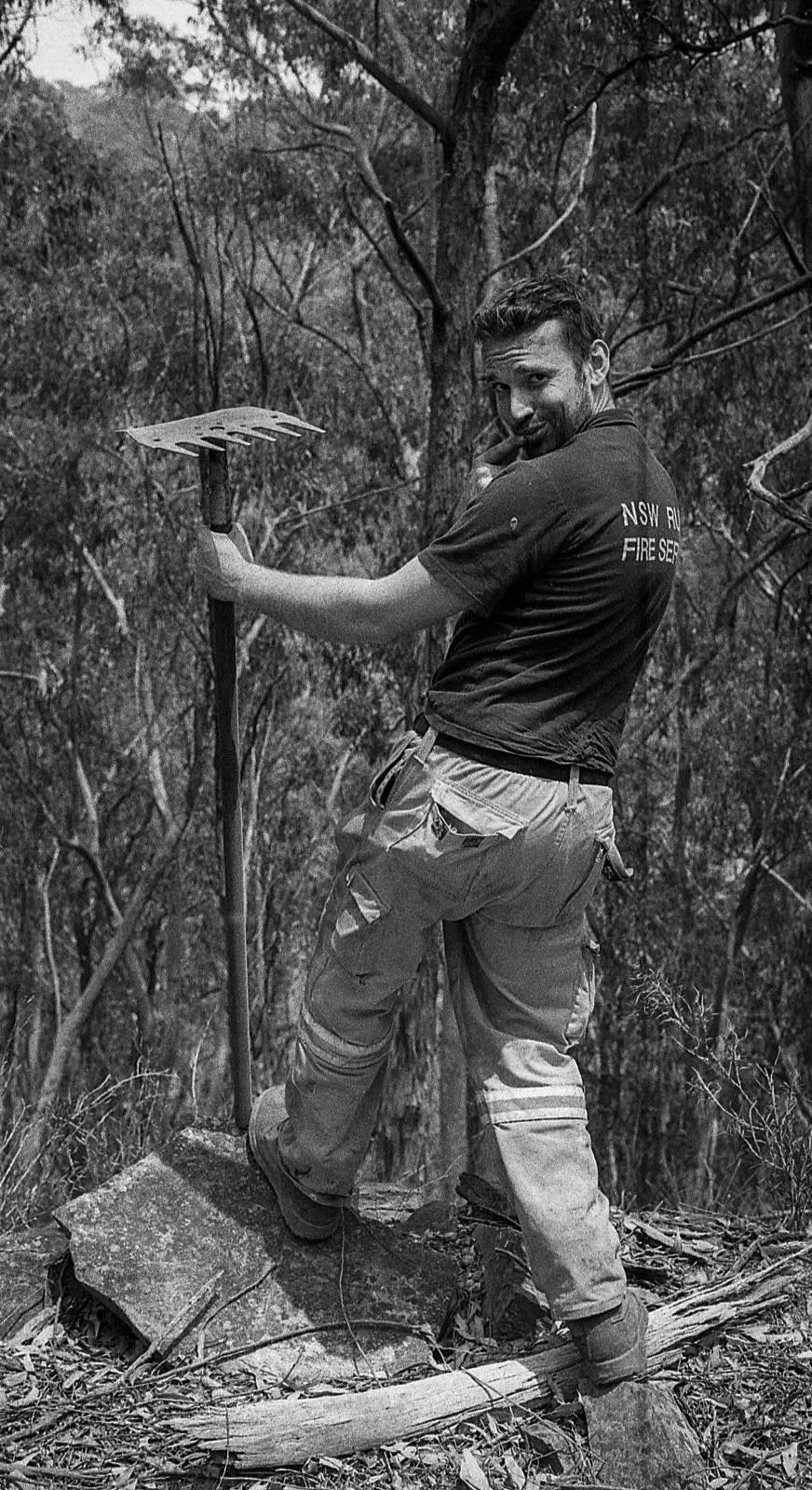 "The Australian NSW bushfires on film - ""Serious Lachie"" - Olympus OM-2n, 50mm F/1.8, ILFORD HP5 PLUS at EI 800"