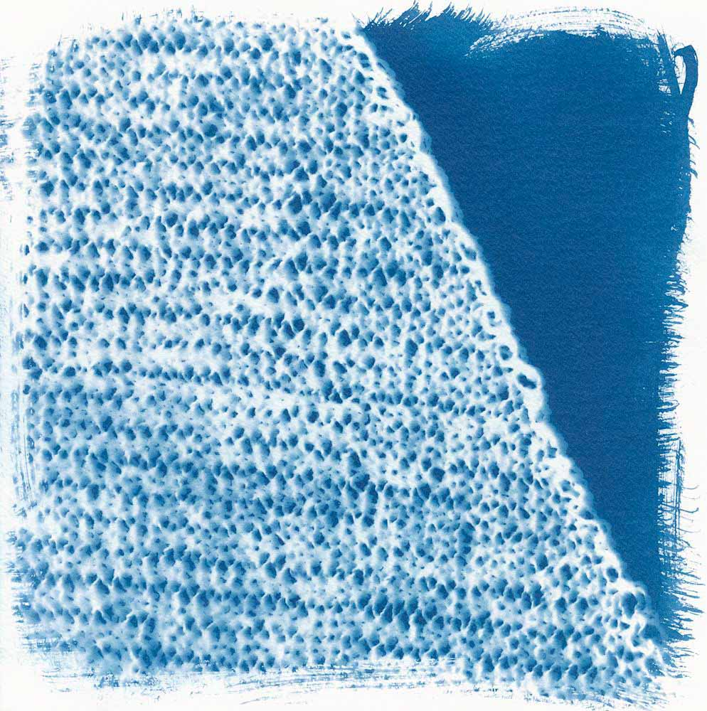 Knit On The Bias (Right Side!) - 5 Frames... With a Liquid Cyanotype Kit on Fluid Cold Press Finish Watercolor Paper - by Monika