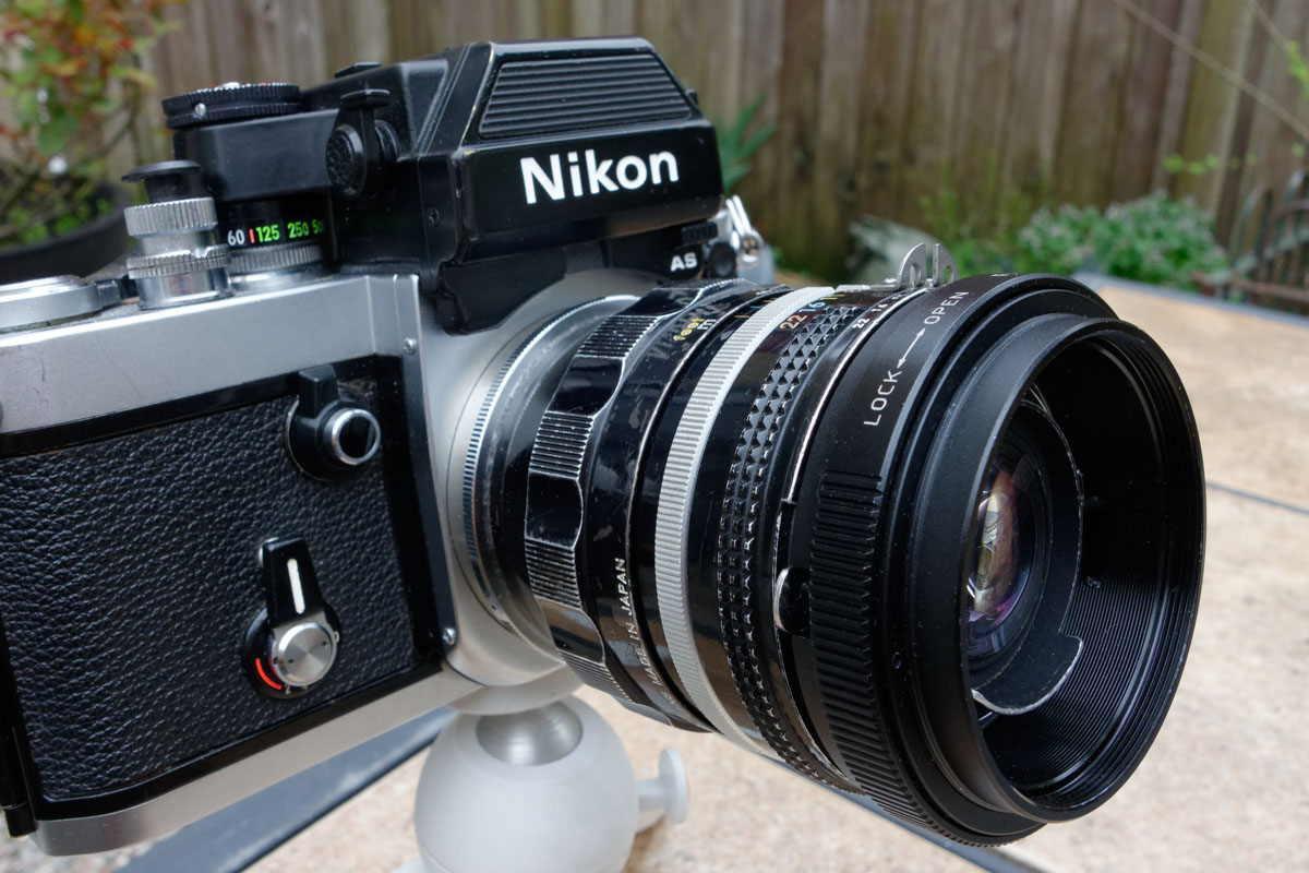 Nikon F2 with Fotodiox reversal ring attached