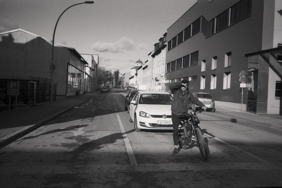 Olympus XA with ILFORD PAN 100 - Graz, Crossing the street - Gavin Lyons