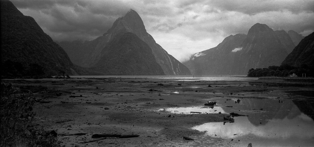 Milford Sound, New Zealand, 6x12 camera, FP4 PLUS, Rodinal 1-50