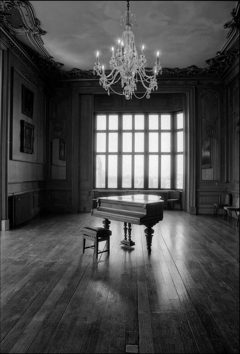 Harlaxton Manor, nr Grantham, UK, Nikkormat, 28mm Nikkor, Ilford Delta 100