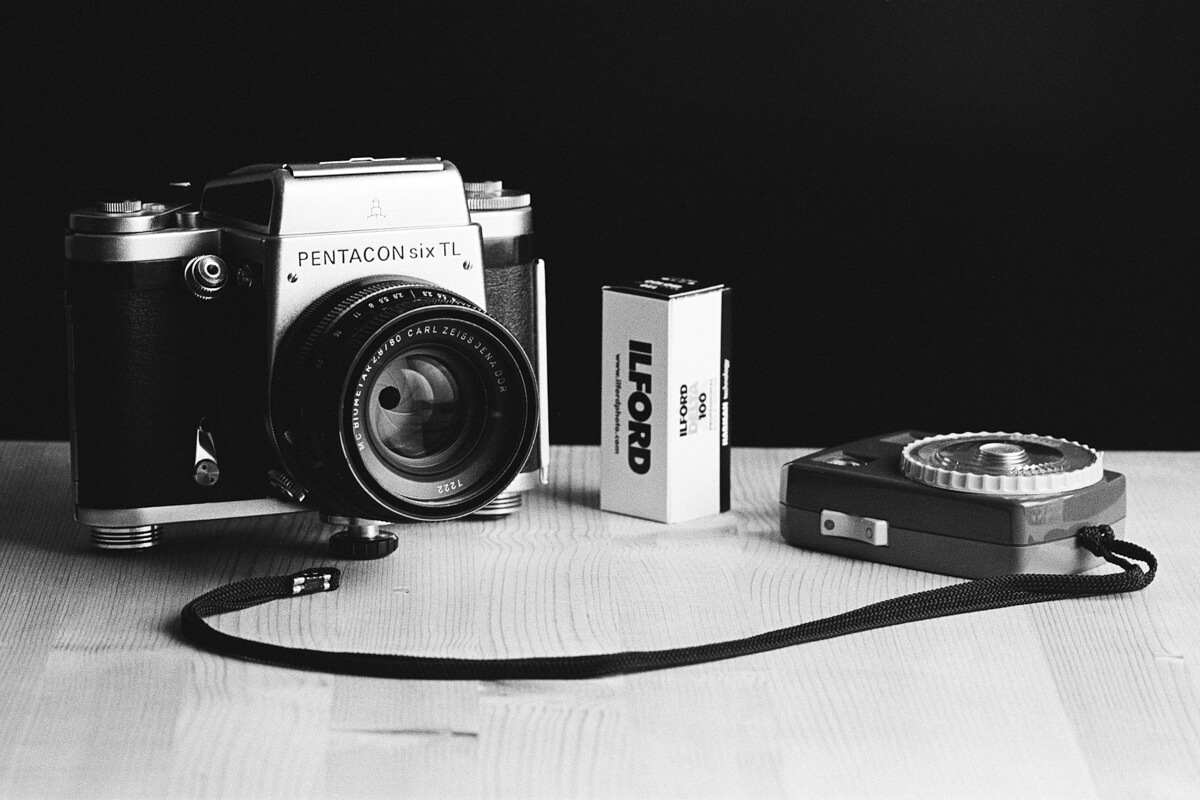 Pentacon Six with its 80mm f/2.8 Biometar kit lens, ILFORD Delta 100 Professional film and a Gossen light meter
