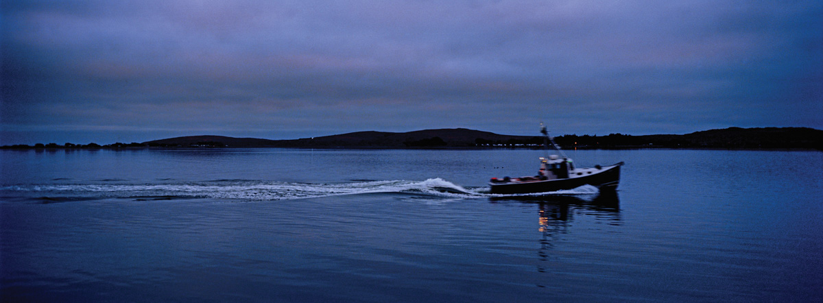 Bodega Bay at Nightfall, Bodega Bay, California, August 2014 (The Birds, 1963). Hasselblad Xpan, Fujinon 45mm/f4, Kodak Ektar 100, Cokin 80A blue filter, f/4 @1/30 sec. Photo by Robert Jones, Copyright © Middlebrow Books, L.L.C., 2019. All Rights Reserved.