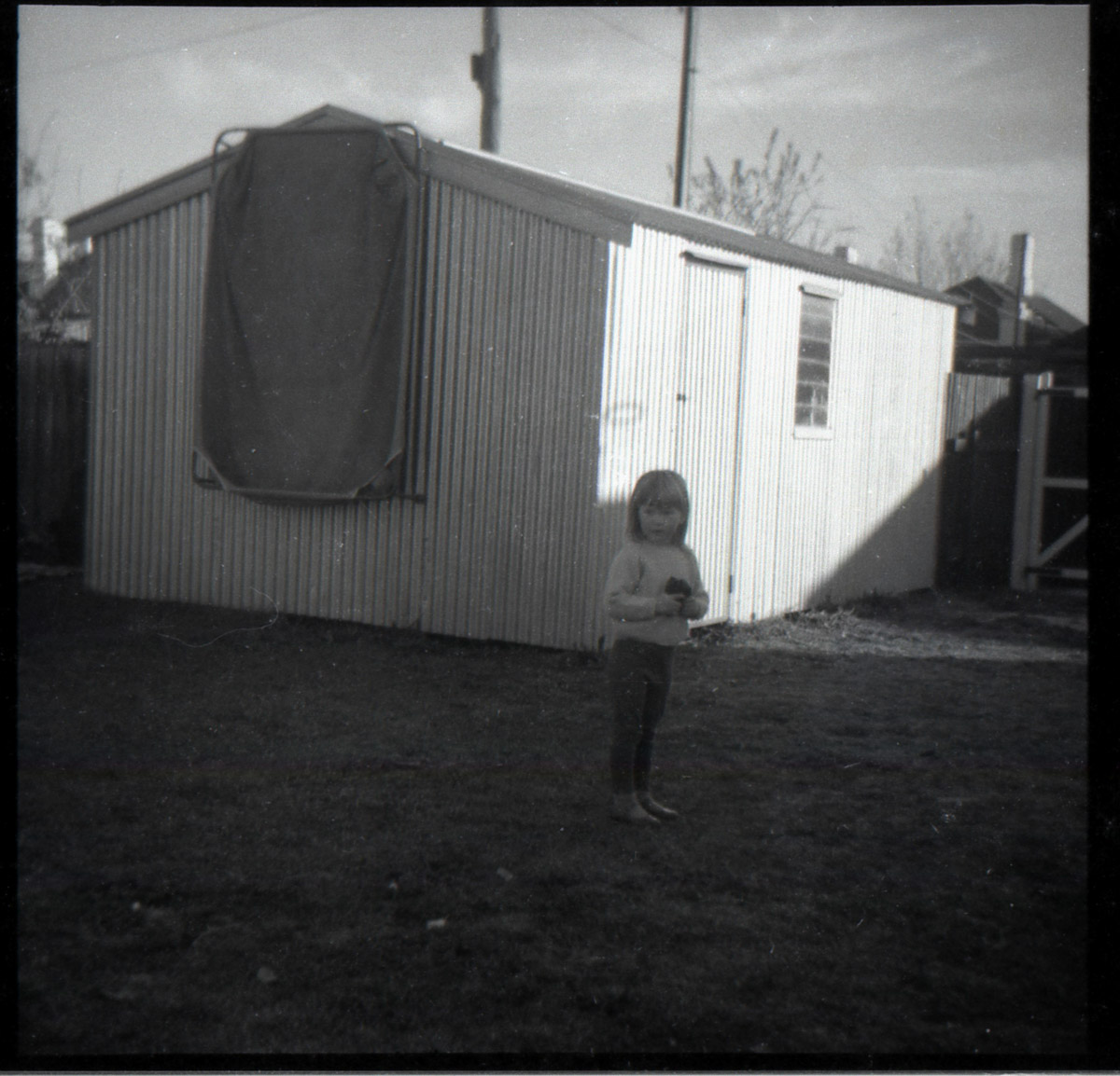 And this was the shed in our back yard, with the wading pool hanging up.