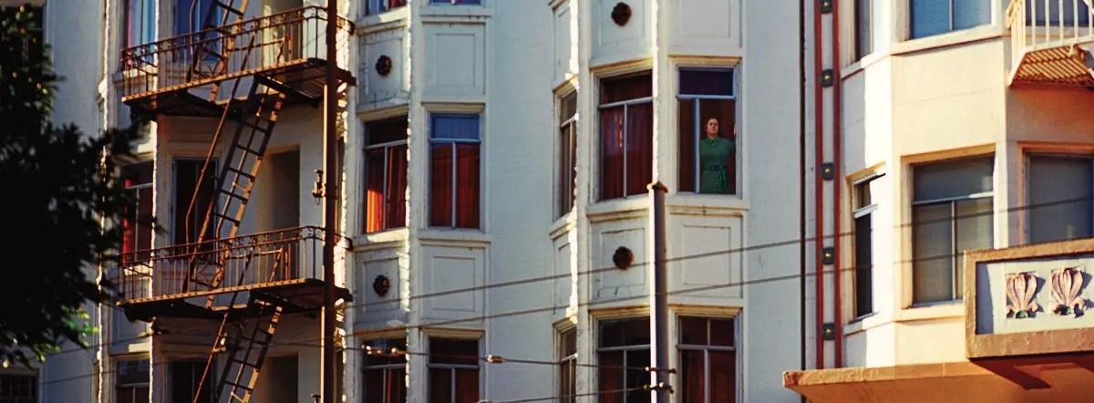 Photographer Aimee Sinclair Recreates Kim Novak's Role of Judy Barton at Vertigo Hotel, San Francisco, California, September 2017 (Vertigo, 1958). Hasselblad Xpan, Fujinon 45mm/f4, Agfa Ultra 50 print film N+1, f5.6@1/60 sec. Photo by Robert Jones, Copyright © Middlebrow Books, L.L.C., 2019. All Rights Reserved.