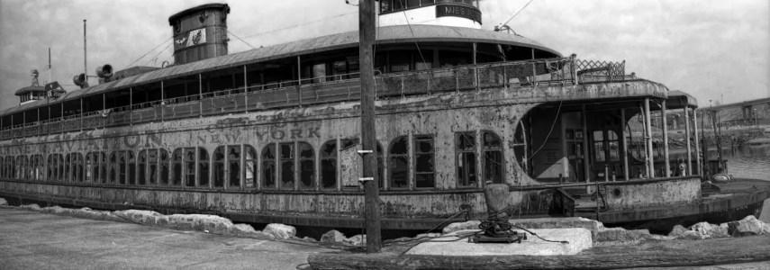 Staten Island Ferry, Bridgeport, CT 1978. Two 35mm frames stitched together via Lightroom.