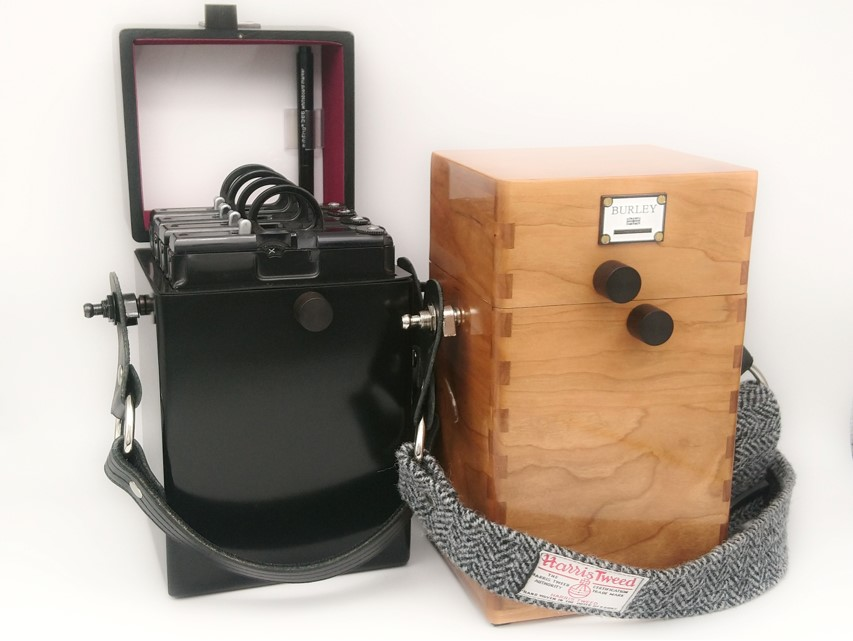Burley Cameras Film Holder Cases. Note the stealth black version on the left which has already been fitted out for grafmatic holders. Memo board in lid.